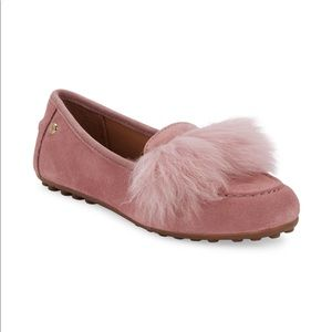NWT UGG Shearling-Trim Faux Fur Suede Loafers 6